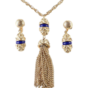 Trifari Byzantine Tassel Necklace Dangle Earrings Faux Lapis Demi Parure Set