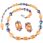 Hobe' Moonglow Crystal Glass Bead Necklace Earrings Demi Parure Set