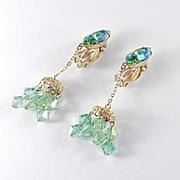 Lewis Segal California Rhinestone Crystal Glass Bead Dangle Earrings