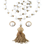 Trifari White Bead Tassel Pendant Necklace Bracelet Earrings Parure Set