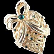 DeNicola Heart Bow Cabochon Brooch Pin