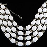 '50s Vintage Monet Chunky Milk Glass Bead Bracelet