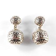 Trifari Filigree Ball Dangle Earrings