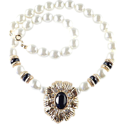 KJL Avon New York Collection Faux Pearl Onyx Necklace Kenneth Jay Lane