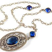 Accessocraft Faux Cut Steel Cobalt Blue Art Glass Pendant Necklace