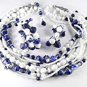 Hattie Carnegie 9 Strand Glass Bead Necklace Wrap Bracelet Earrings Parure Set