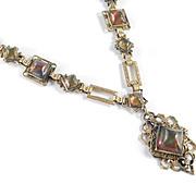 Art Deco Sugarloaf Amber Glass Gilt Brass Necklace