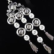1960s Vintage Mod Dangle Fringe Necklace