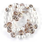 Vendome Coro Rivoli Glass Bead Necklace w/ Faux Pearls