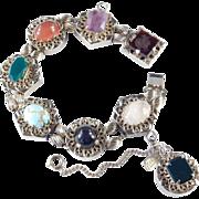Kafin New York Victorian Revival Chunky Slide Charm Bracelet Faux Gemstones