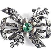 Hobe Sterling Silver Glass Faux Peridot Stone Brooch Pin