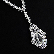 Art Deco Sterling Silver Crystal Glass Bead Pendant Necklace