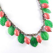 Art Deco Vintage Glass Fruit Bead Celluloid Leaf Necklace