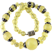 Louis Rousselet Made In France Art Deco Glass Bead Enamel Necklace