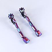 Fenichel Rhinestone Dangle Earrings Japanned