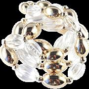 Vintage Napier Lucite Melon Golden Bead Necklace