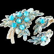 Juliana D & E Moonglow Art Glass Rhinestone Brooch Pin Earrings Demi Parure Set