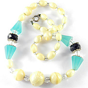 Art Deco Black Green Yellow Bead Crystal Necklace