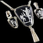 Whiting & Davis Glass Intaglio Cameo Pendant Necklace Dangle Earrings Demi Parure Set