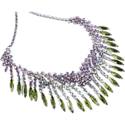 SOLD Vintage Rhinestone Art Glass Fringe Bib Necklace