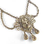 Art Nouveau Deco Brass Cameo Swag Festoon Garland Necklace w/ Dangles