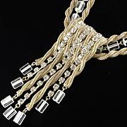 Arnold Scaasi Vintage Mesh Rope Rhinestone Crystal Cube Fringe Pendant Necklace