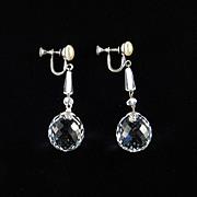 Art Deco Crystal Ball Faux Pearl Dangle Earrings