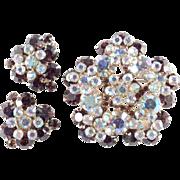 D & E Juliana Rhinestone Rosette Brooch Pin Earrings Demi Parure Set