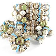 Hobe Bead Pom Pom Rhinestone Wrap Bracelet Earrings Demi Parure Set
