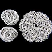 Trifari Cavalcade Rhinestone Brooch Pin Earrings Demi Parure Set