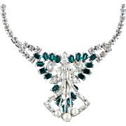 Rhinestone Faux Pearl Sculptural Necklace