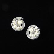 Panetta Rhinestone Faux Pearl Earrings Rhodium Plate