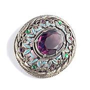 Art Nouveau Deco Glass Rhinestone Enamel Brooch Pin