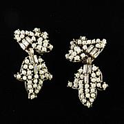 Art Deco Era Baguette Rhinestone Faux Pearl Dangle Earrings