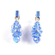 Lewis Segal California Rhinestone Glass Crystal Bead Dangle Earrings
