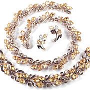 Trifari Rhinestone Necklace Bracelet Earrings Set Parure 1950s Vintage Pat Pend