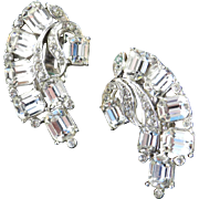 Joseph Wiesner Rhinestone Crescent Climber Earrings Rhodium Plate