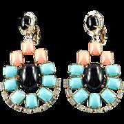 Kenneth J Lane Rhinestone Faux Coral Turquoise Onyx Cabochon Pendant Dangle Earrings