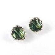 Elsa Schiaparelli Molded Glass Disk Earrings