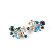 Elsa Schiaparelli Rhinestone Iridescent Molded Glass Leaf Earrings on Card