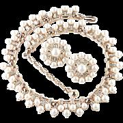 Trifari Rhinestone Faux Pearl Necklace Earrings Demi Parure Set Pristine