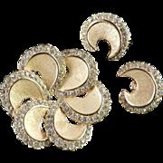 Trifari Rhinestone Crescent Pinwheel Brooch Pin Earrings Demi Parure Set