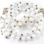 Hobe Opalescent Bead Crystal Glass Necklace Earrings Demi Parure Set in Box