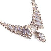 Rhinestone Opalescent Glass Cabochon Collar Necklace w/ dangle