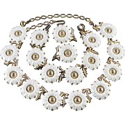 Trifari White Lucite Sunflower Necklace Bracelet Earrings Parure Set