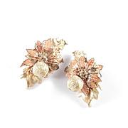 DeMario Layered Golden & Enamel Leaves Bead Dangle Earrings