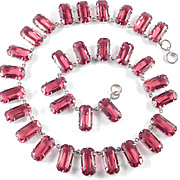 Art Deco Red Glass Crystal Collar Necklace