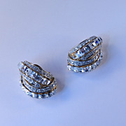 Nina Ricci Rhinestone Earrings 1980s Vintage