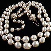 Miriam Haskell Double Strand Baroque Faux Pearl Necklace