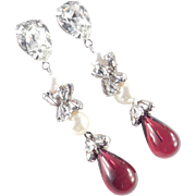 Unsigned Schreiner Rhinestone Faux Pearl Molded Glass Dangle Chandelier Earrings